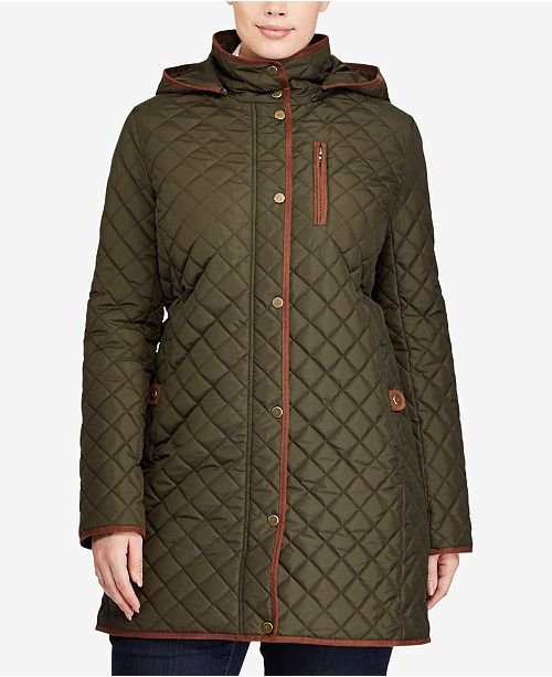 Lauren Ralph Lauren Plus Size Quilted Hooded Jacket, Created for Macy's