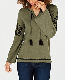 Style & Co Embroidered Sweater, Created for Macy's