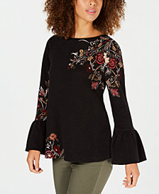 Style & Co Cotton Floral-Jacquard Detailed Top, Created for Macy's