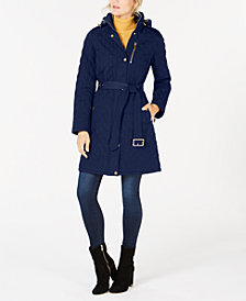 MICHAEL Michael Kors Hooded Belted Coat