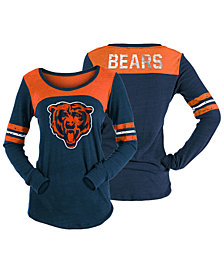 5th & Ocean Women's Chicago Bears Tri-Blend Distressed Long Sleeve T-Shirt