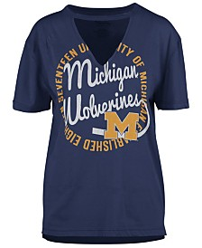 Royce Apparel Inc Women's Michigan Wolverines Cutout V-Neck T-Shirt