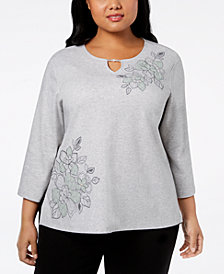 Alfred Dunner Plus Size Smart Investments Floral-Appliqué Top