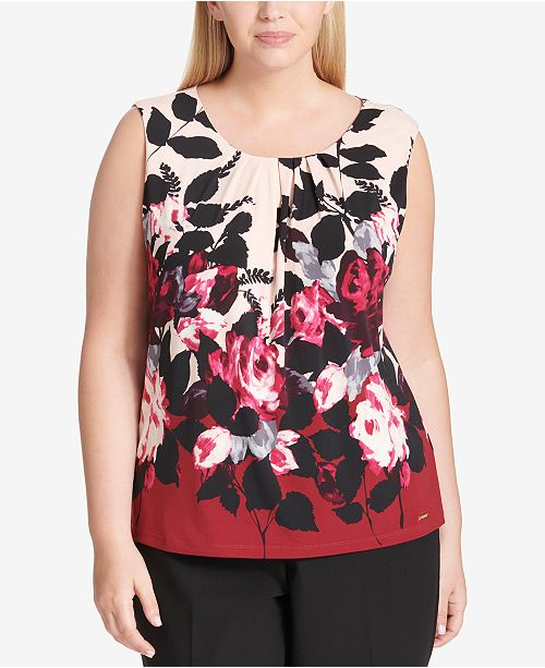 a32d617e35017 Calvin Klein Plus Size Pleated Shell - Tops - Women - Macy s