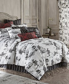 Toile Back in Black Comforter Set Linen-King/California King