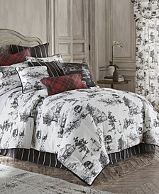 Toile Back In Black Comforter Set Linen Twin