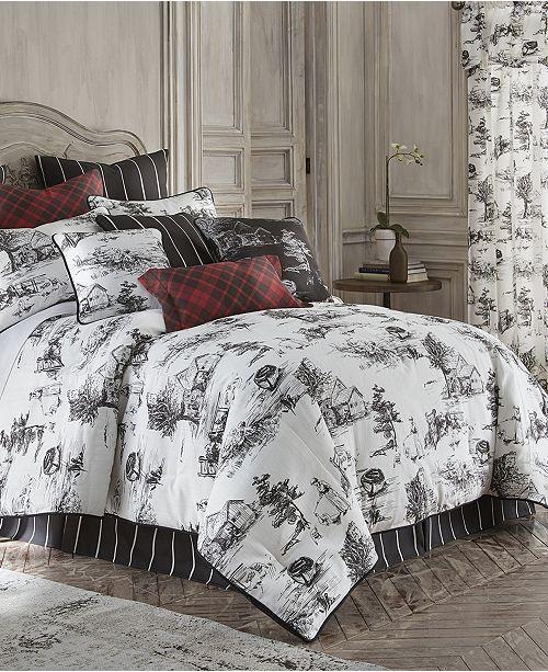 Colcha Linens Toile Back in Black Comforter Set Linen-Full