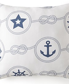 "Nautical Board Square Cushion -White Background with Blue Nautical 20""x20"""