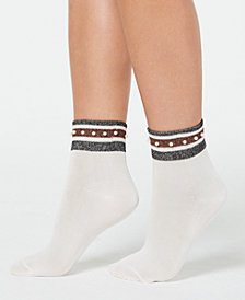 HUE® Embellished Metallic-Stripe Anklet Socks