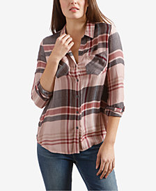 Lucky Brand Plaid Side-Button Boyfriend Shirt