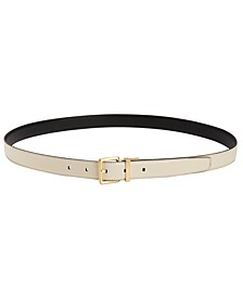 Stitched-Edge Reversible Leather Belt