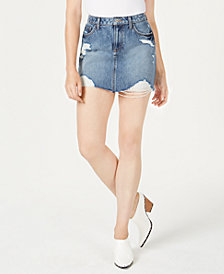 GUESS Ripped Denim Mini Skirt