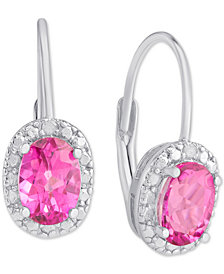 Pink Topaz (2 ct. t.w.) & Diamond Accent Drop Earrings in Sterling Silver