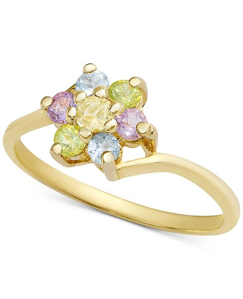 Macy's Multi-Gemstone Flower Ring (1/3 ct. t.w.) in 18k Gold-Plated Sterling Silver (Also in Ruby, Blue Topaz, Sapphire and Emerald with White Topaz Accent)
