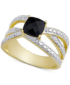 Sapphire (3/4 ct. t.w.) & Diamond Accent Crisscross Statement Ring in 18k Gold-Plated Sterling Silver