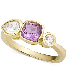Amethyst (5/8 ct. t.w.) & White Topaz (1/3 ct. t.w) Ring in 18k Gold-Plated Sterling Silver