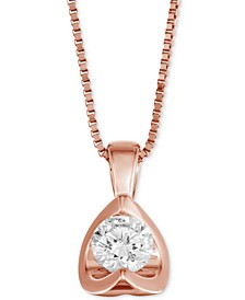 "Diamond Tension-Set 18"" Pendant Necklace (5/8 ct. t.w.) in 14k White, Yellow or Rose Gold"
