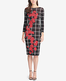 Vince Camuto Floral Plaid-Print Sheath Dress