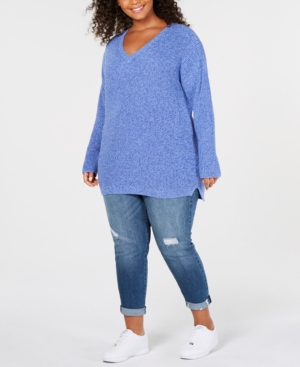 Image of 525 America Plus Size Cotton Marled-Knit Sweater