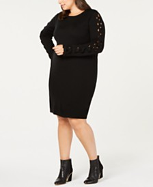 Love Scarlett Plus Size Lace-Up Sleeve Sweater Dress