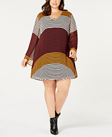 ECI Plus Size Colorbocked Striped Trapeze Dress