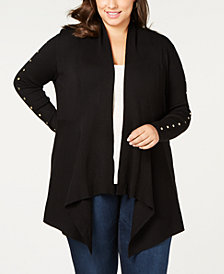One A Plus Size Studded Cascade Cardigan