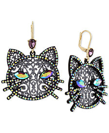Betsey Johnson Hematite-Tone Crystal Cat Drop Earrings