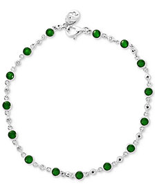 EFFY® Emerald (1-3/4 ct. t.w.) & Diamond (1/6 ct. t.w.) Bracelet in 14k White Gold