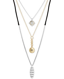 "Lucky Brand Two-Tone Crystal Evil Eye & Leather Cord 18"" Triple-Layer Necklace, Created for Macy's"