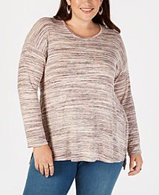 Style & Co Plus Size Space-Dyed Step-Hem Top, Created for Macy's