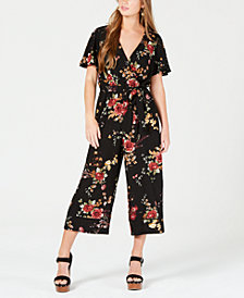 As U Wish Juniors' Faux-Wrap Jumpsuit