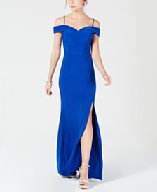 Morgan & Company Juniors' Cold-Shoulder Gown