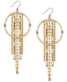 Lucky Brand Gold-Tone Crystal Circle & Chain Fringe Drop Earrings, Created for Macy's