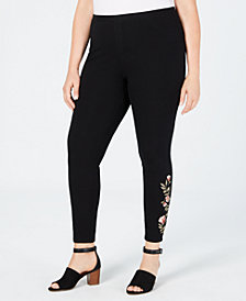 Style & Co Plus Size Embroidered Leggings, Created for Macy's