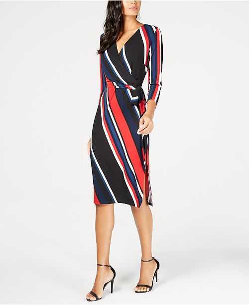 INC International Concepts INC Striped Faux-Wrap Dress, Created for Macy's
