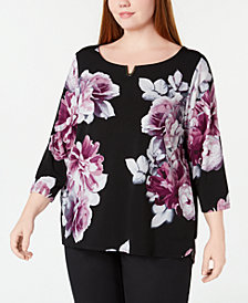 Calvin Klein Plus Size Hardware-Neck Printed Top