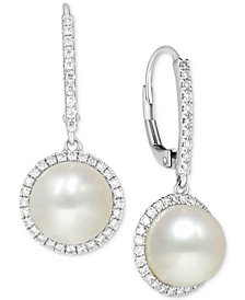 Cultured Freshwater Pearl (9mm) and Diamond (1/2 ct. t.w.) Halo Drop Earrings in 14k White Gold