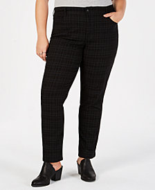 Style & Co Plus Size Plaid Slim Jeans, Created for Macy's
