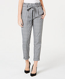 Almost Famous Juniors' Cuffed Paperbag-Waist Pants
