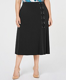 Plus Size Lace-Up A-Line Skirt, Created for Macy's