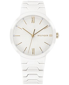 Women's White Ceramic Bracelet Watch 36mm Created for Macy's