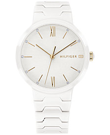 Tommy Hilfiger Women's White Ceramic Bracelet Watch 36mm Created for Macy's