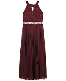 Speechless Big Girls Glitter Lace Pleated Maxi Dress