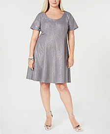 Robbie Bee Plus Size Printed Chevron Fit & Flare Dress