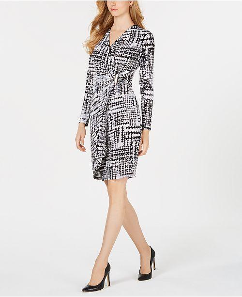 6442932f424 Calvin Klein Printed Faux-Wrap Dress   Reviews - Dresses - Women ...