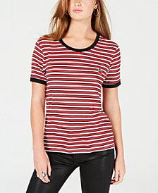 Rebellious One Juniors' Cherry Striped Ringer T-Shirt