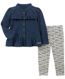 Tommy Hilfiger Little Girls 2-Pc. Peplum Fleece Jacket & Printed Leggings Set