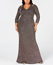Plus Size Cutout Glitter Gown