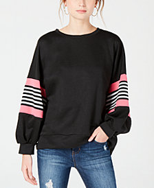 Say What? Juniors' Striped Balloon-Sleeve Sweatshirt