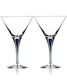 Orrefors Set of 2 Intermezzo Blue Martini Glasses